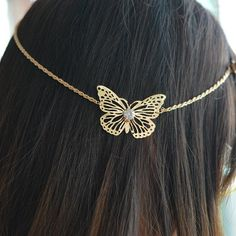 Gold Butterfly Indian Hair Chain/Jewelry