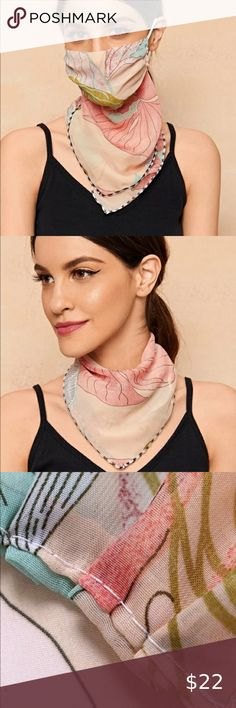 Soft Polyester Silk Face Scarf Women Fashion Print Cute White Santas Mustache Square Head Scarf For Women Hair Scarf Wrap Square Scarfs Multiple Ways Of Wearing Daily Decor