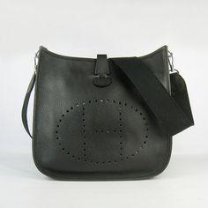 31fd2733a7ed Hermes Women Cowskin Leather Shoulder Bag 6309 Black  Hermes  Handbags