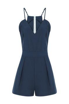 V-neck Cami Playsuit In Blue