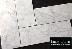 """Italian Carrara Bianco 6x18"""" Marble Tile available online from The Builder Depot for $9.95SF can be installed in running brick format or carefully as a Herringbone."""