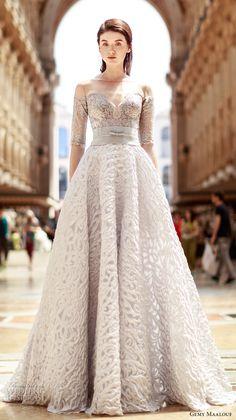 Gemy Maalouf 2017 bridal half sleeves off the shoulder deep plunging sweetheart neckline full embellishment silver color princess a  line wedding dress v back sweep train (4788) mv #wedding #bridal #weddingdress