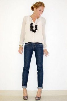 Femme blouse   statement necklace   rolled-up skinny jeans   peep-toe stilettos