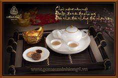 Bộ Trà Cao cấp - Gốm Sứ Minh Long 1: Bộ trà 0,35L Jasmine IP chỉ vàng 01359001403