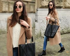 Coat, Sweater, Jeans, Bag, Boots, Sunglasses, Dress up everyday! :)