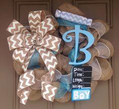 Baby Boy burlap wreath with monogrammed bib by CuteWreathsByHope