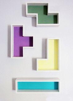 Geek Home Decor: DIY Tetris Shelves, these are awesome! Geek Home Decor, Nerd Decor, Easy Home Decor, Game Room Decor, Quirky Home Decor, Unique Shelves, Floating Shelves Diy, Diy Wall Shelves, Easy Shelves