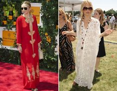 L) Ashley Olsen in a Vintage Caftan. (R) Rachel Zoe in a Miguelina Rachel Caftan. Hippie Bohemian, Boho, Shopping Day, Couture, Rachel Zoe, Kaftan, Red Carpet, Cover Up, Elegant