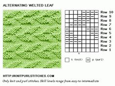 Knit and Purl. Flat knitting. Alternating Welted Leaf stitch