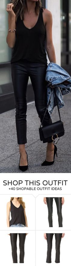 #summer #outfits Black Tank + Black Leather Skinny Pants + Black Pumps