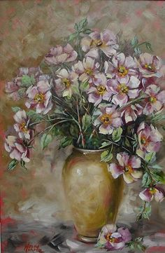 Oil painting by Helen Harper Helen Harper, Drawing, Oil Paintings, Flower Art, Heaven, Pottery, Rose, Vases, Flower Vases