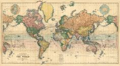 World map, 1900, fullt restored.