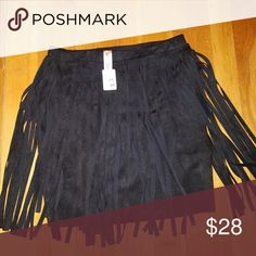 ☮The Fringe Zone☮ 🔥🔥Black faux suede fringe mini skirt🔥🔥 Lac Bleu Skirts Mini