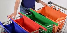 Make supermarket shopping a breeze with Trolley Bags. A colour coded system of 4 reusable bags that sit upright in all standard shopping trolleys, allowing y. Reusable Shopping Bags, Reusable Bags, Grocery Bags, Diy Bags Easy, Easy Diy, Makeup Storage Drawers, Cute Sewing Projects, Diy Outdoor Table, Trolley Bags