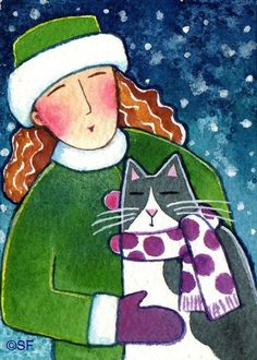 Winter Cat Lady Original Watercolor Painting ACEO Art by Susan Faye, SusanFayePetProjects on Etsy, $15.00