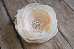 Romantic Wedding Hairpiece, Bridal Hair Clip, Pastel Peach and Ivory Hair Flower, Bridal Hair Accessories, Lace, Pearls, Rhinestones on Etsy, $34.00