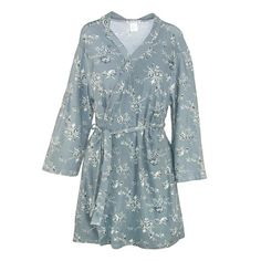 This super soft robe is will wrap you will silky smooth comfort. The robe features spandex for durability and stretch. It features a stunning cottage rose print an inner tie to keep it closed. The robe also has a matching sash. Whether you are lounging around the house with a cup of coffee or stepping out of the shower, surround yourself with luxury with this fabulous robe.