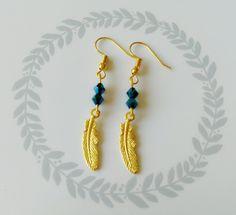 """boucles d'oreilles """"plume"""" perles bleu metalisées"""