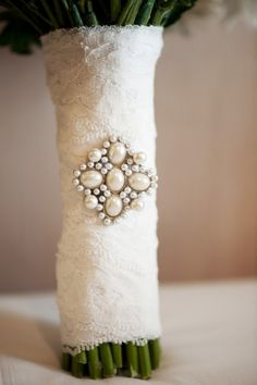 Great idea. Left over fabric from dress alterations used for the flower bouquet