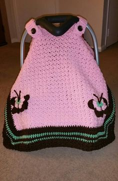 Crochet carseat canopy