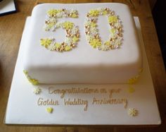 Golden Blossoms 50th Wedding Anniversary Cake
