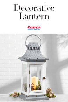 This lantern takes a classic wood and metal style and adds a wintery touch with a silvery hammer-texture top, white painted finish, and sprigs of holiday greens and berries. Creative Landscape, Landscape Photos, Light Images, Lanterns Decor, Landscaping With Rocks, Light Installation, Landscape Lighting, Paint Finishes, Costco