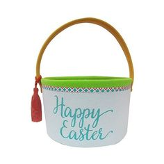 Happy Easter Fabric Easter Basket ($10) ❤ liked on Polyvore featuring home, home decor, holiday decorations, soft pink, fabric easter basket, fabric home decor, easter home decor and easter baskets