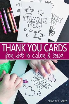 Free Printable Thank You Cards for Kids to Color & Send - Free printable thank you cards for kids! This adorable set of printable cards are perfect for birth - Teacher Thank You Cards, Thank You Cards From Kids, Thank You Gifts, Kids Cards, Thank You Ideas, Thank You Party, Printable Thank You Notes, Printable Cards, Free Printables
