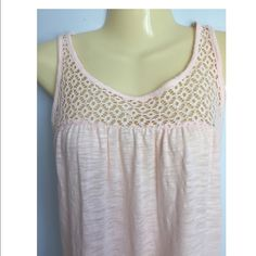Just In LC Lauren Conrad crochet tank Comfy tank top. Size XL, crocheted yoke tie-back with tassels, crewneck, sleeveless, creole pink, modal/cotton LC Lauren Conrad Tops Tank Tops