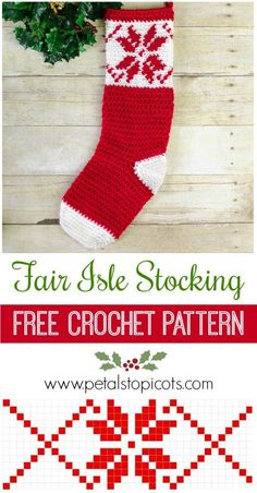 I just love the pretty snowflake design on this Fair Isle Christmas Stocking! Click over to get the free crochet pattern. #petalstopicots