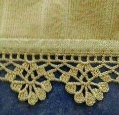 Crochet Edging Patterns, Crochet Lace Edging, Crochet Borders, Filet Crochet, Diy Crochet, Crochet Stitches, Cross Stitch Kits, Knitting, Crafts