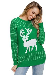 4fa135ed5d8 Women knit snowy day reindeer christmas long sleeve sweater
