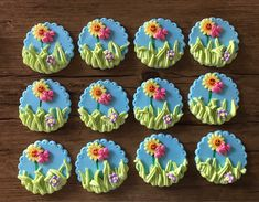 Excited to share the latest addition to my #etsy shop: 12 Spring Garden Edible Cupcake Toppers Cake Decorations Hand Made with Fondant Icing.