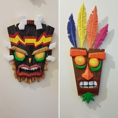 After seeing someone post theirs the other day, here are some crash bandicoot masks I made a few years back. Criticism welcome! Nerd Room, Gamer Room, Art For Kids, Crafts For Kids, Arts And Crafts, Crash Bandicoot Characters, Small Game Rooms, Tiki Art, Diy Tumblr