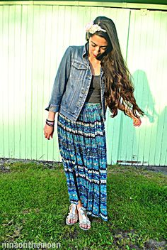 Boho: Maxi skirt and a denim jacket.