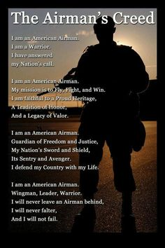 """""""The Airman's Creed"""" Wall Art- 8 x Wall Prints- Ready To Frame. US Air Force- American Airman, Warrior, Wingman Poster Print. Home Decor-Office Decor-Military Decor. Display Your Honor & Pride. Us Air Force, Air Force Love, Air Force Ball, Military Mom, Military Party, Military Quotes, Military Ranks, Military Aircraft, Civil Air Patrol"""