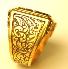 Men's signet ring, hand carved with initials