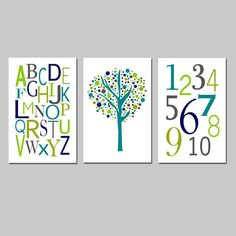 Kids Wall Art Trio - Set of Three 13x19 Nursery Prints - Modern Alphabet, Numbers, Tree Dot -  Choose Your Colors