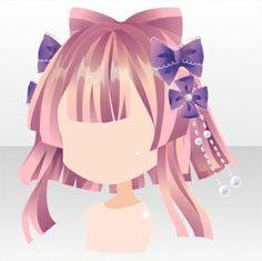 Girly Goldfish Straight Bangs Ribbon Hair ver.A pink Half Up Long Hair, Braids For Long Hair, Japanese Goldfish, Daruma Doll, Pelo Anime, Chibi Hair, Drawing Anime Clothes, Cocoppa Play, Hair Reference