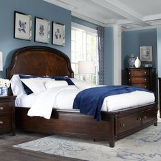 Magnussen Home's Langham Place Bedroom Furniture Set by Humble Abode. Shown here with the Langham Place Wood Panel Storage Bed featuring two large drawers extending from the footboard. Beautiful workmanship with Walnut inlays and Cherry veneers finished in a warm chestnut finish. Complete the Langham Bedsroom Collection with a chest of drawers, nighstands, and dresser with optional mirror.