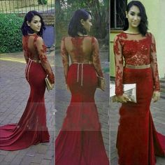 Elegant Red Beaded Appliques 2016 Evening Dresses Sheer Long Sleeves Sexy Jewel Neck Formal Party Gowns Hollow Back Prom Dresses Long Formal Dress For Women Ladies Clothing Online From Weddingdressseller, $125.63| Dhgate.Com