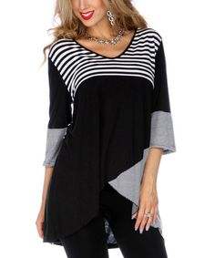Another great find on #zulily! Black & White Stripe Hi-Low Tunic by Aster #zulilyfinds