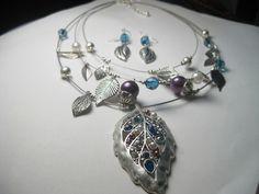 Satiny Silvertone Leaves w/Blue & Purple Beaded Necklace & pierced earring #unbranded