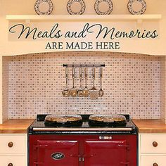"Meals and Memories Quote Vinyl Wall Decal Sticker, Measures 28"" Wide by 4.5"" High Available in the color of your choice!! We now have 21 MATTE FINISH COLORS to choose from!!! See our COLOR CHART. If n"