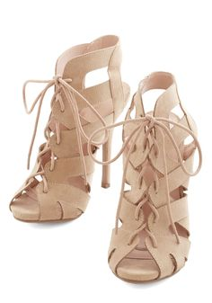 Strappy Days Heel. These beige peep-toe stilettos look chic every day of the week! #tan #modcloth