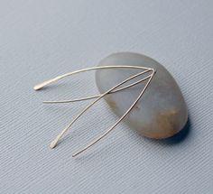 PERFECT Minimal Long Gold Threader Earrings, Dainty Dangle Earrings, Simple Silver Earrings, Gold Petal Earrings, Everyday Earrings  I handcut and