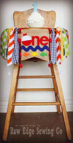 FISHING Birthday High Chair Highchair Banner by RawEdgeSewingCo