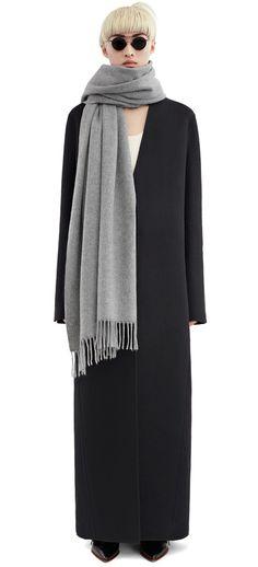 Acne Studios Canada Light Grey Melange Fringed scarf