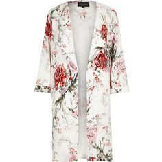 River Island White floral print duster coat (220 BRL) ❤ liked on Polyvore featuring outerwear, coats, jackets, tops, cardigans, coats / jackets, white, women, open front coat and floral print coat