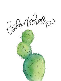 Lookin' Sharp Cactus Print  Watercolor Cactus  Hand